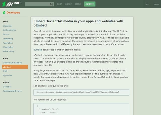 Deviantart Oembed API