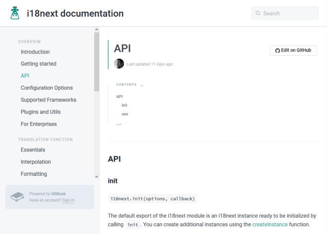 I18Next API