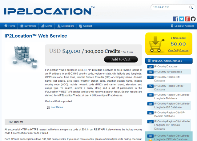 Ip2Location Ip Geolocation Web Service API