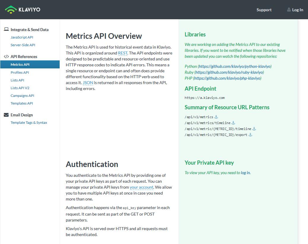 Klaviyo Metrics API