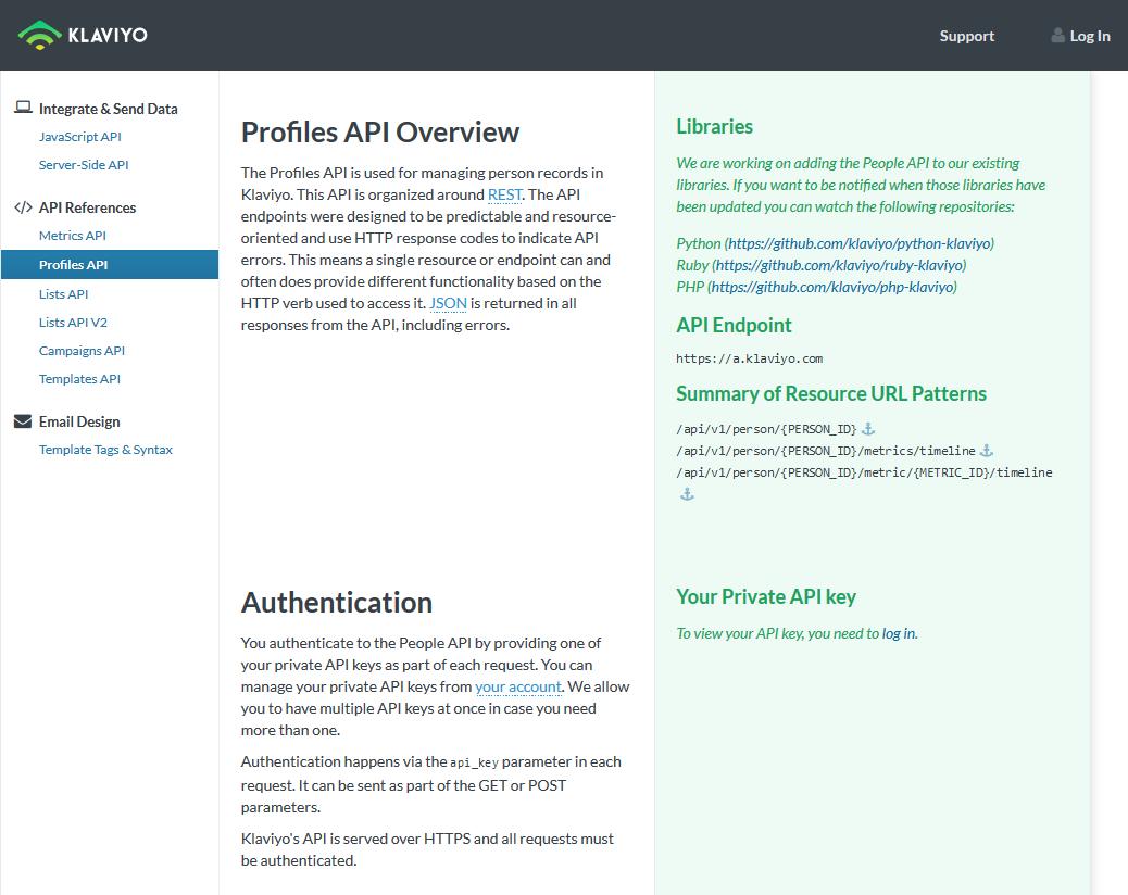 Klaviyo Profiles API