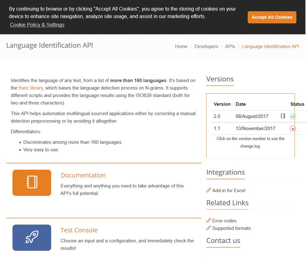 MeaningCloud Language Identification API