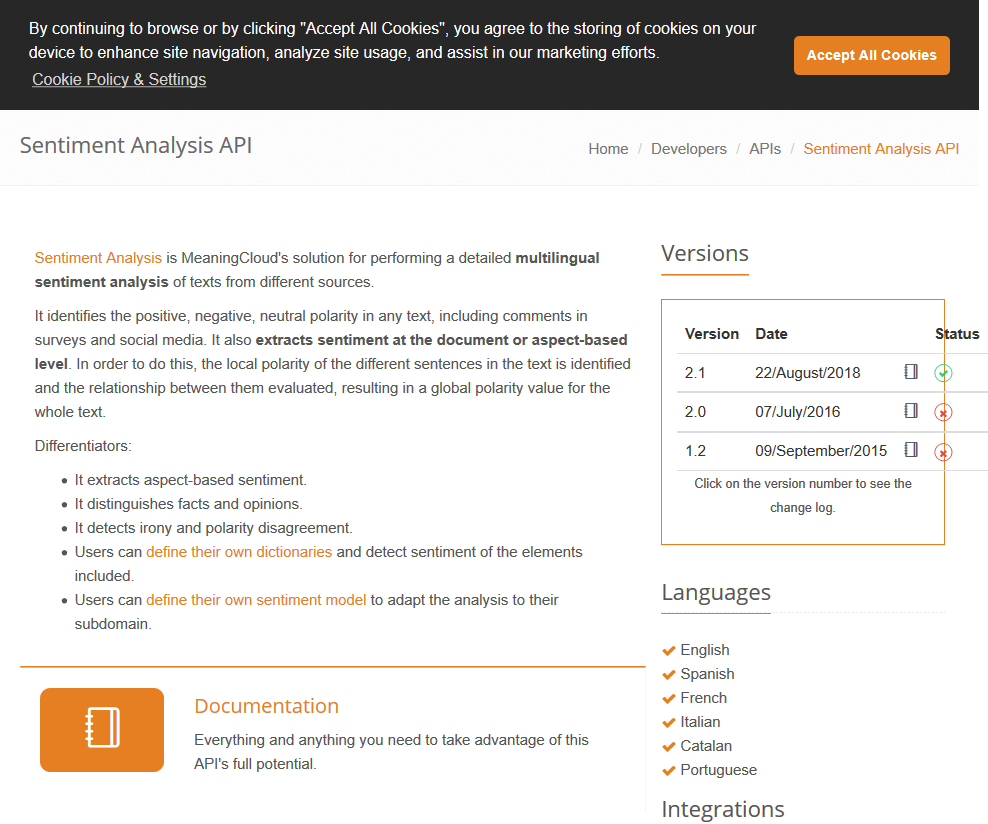 MeaningCloud Sentiment Analysis API