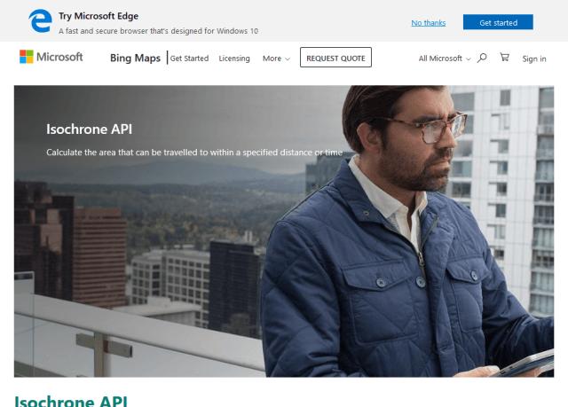 Microsoft Bing Maps Isochrone API