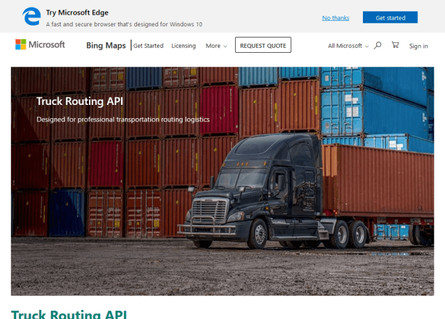 Microsoft Bing Maps Truck Routing API