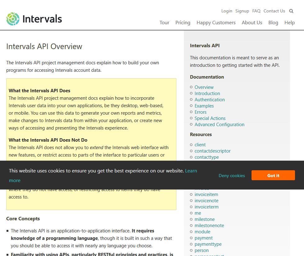 Intervals API