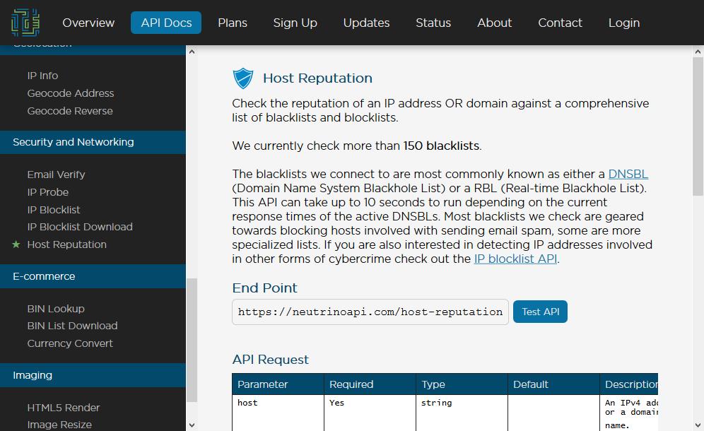Neutrino Host Reputation API