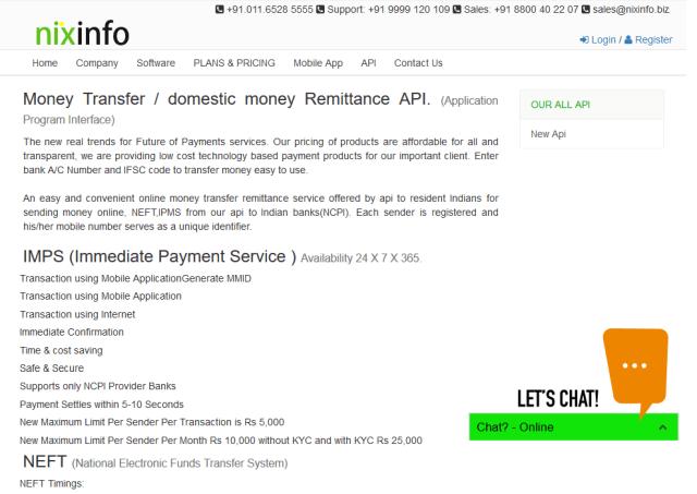 Nix Info Money Transfer API