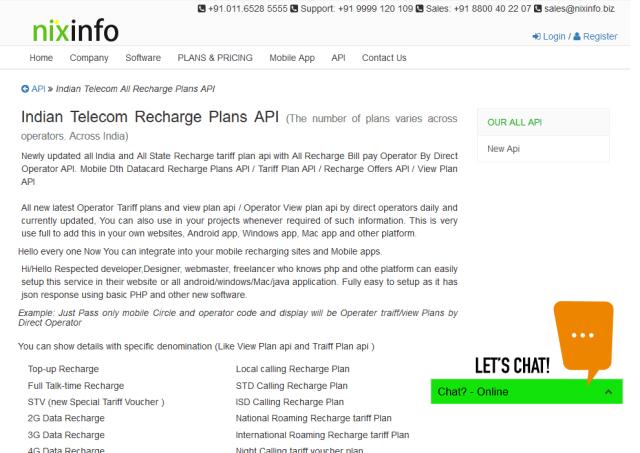 Nix Info Tariff Plans API