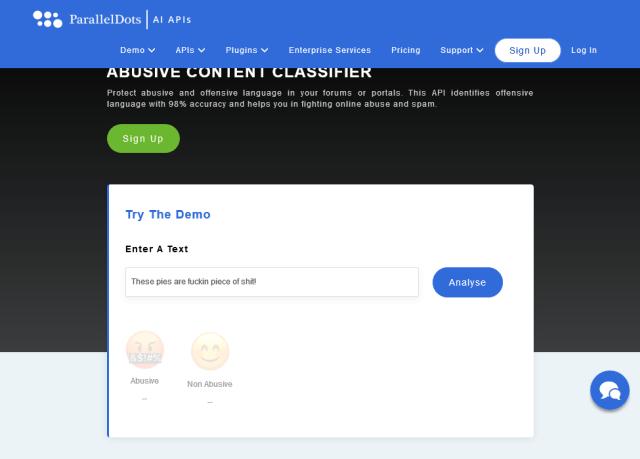 Paralleldots Abusive Content Classifier API