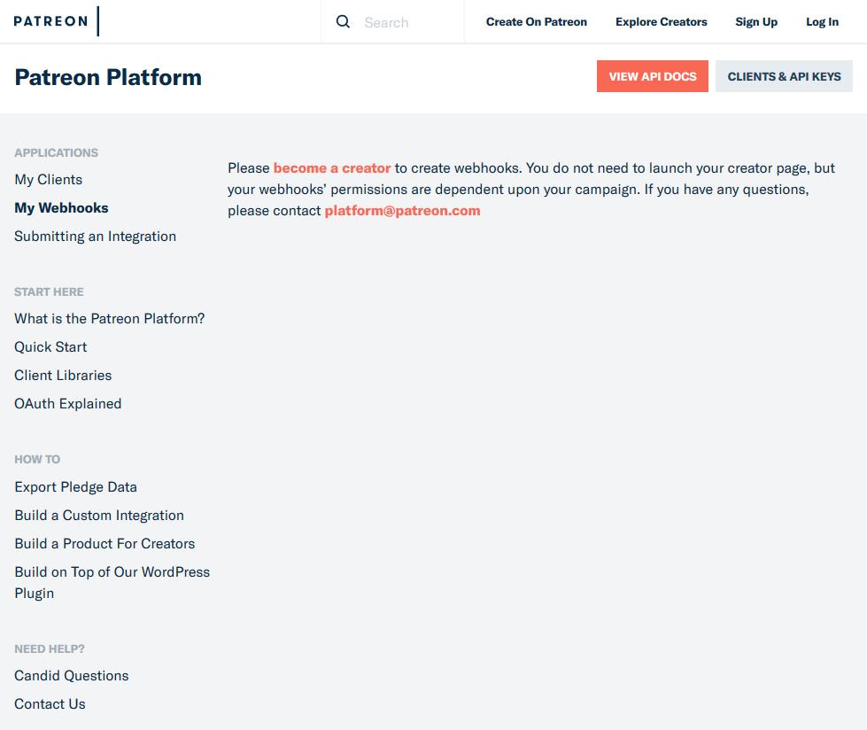 Patreon Webhooks API