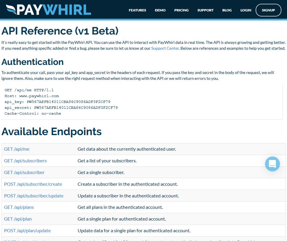 PayWhirl API