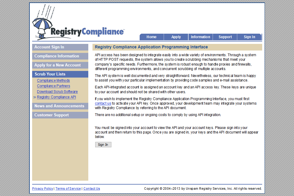 RegistryCompliance Scrub API