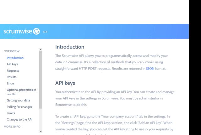 Scrumwise API