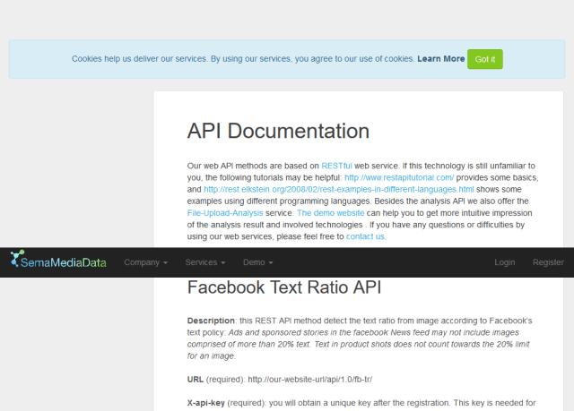 Facebook Text Ratio API
