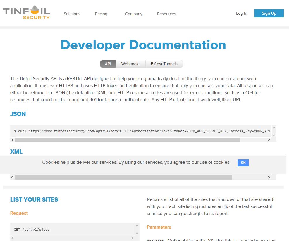 Tinfoil Security API