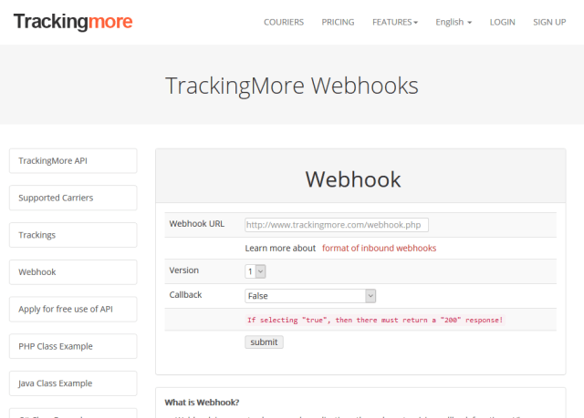 Trackingmore Webhooks API