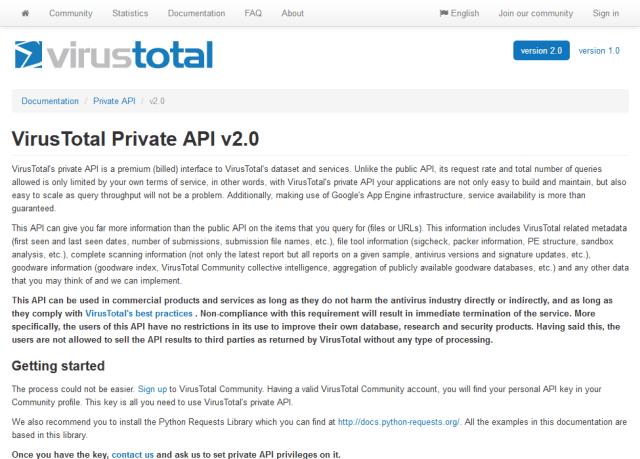 Virustotal Private API