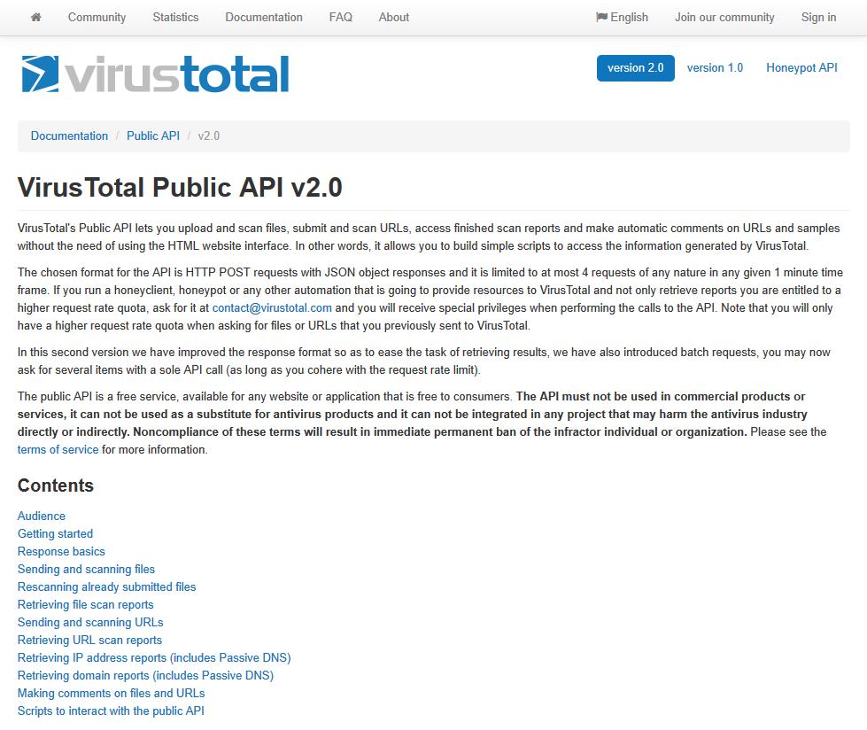 VirusTotal Public API