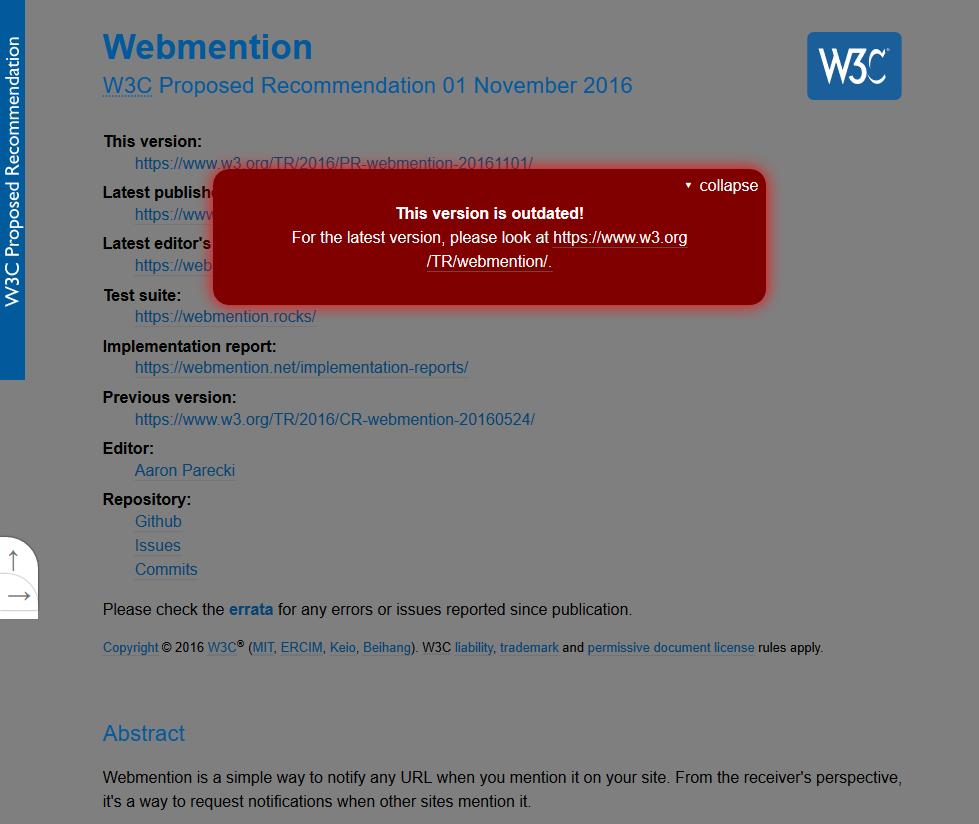 W3C Webmention API