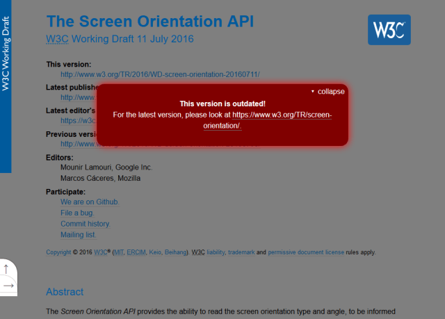W3C Screen Orientation API
