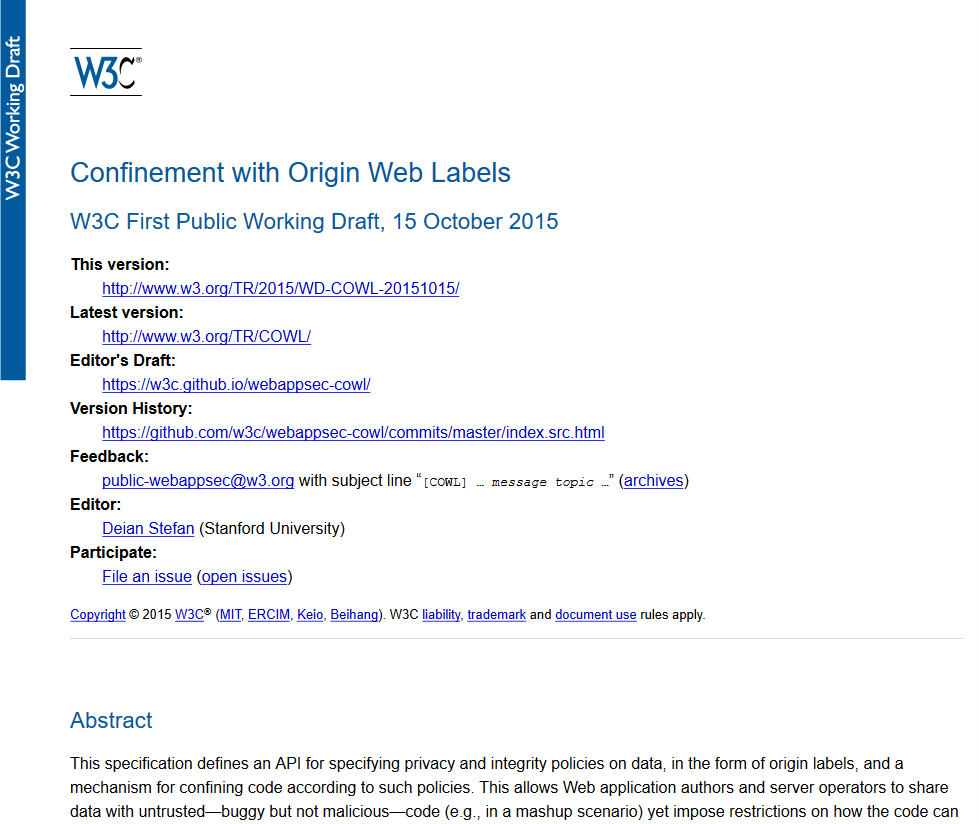 W3C Confinement with Origin Web Labels API