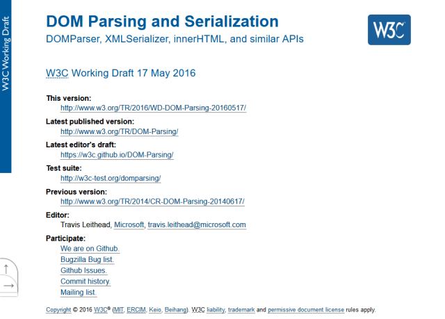 W3C Dom Parsing And Serialization API
