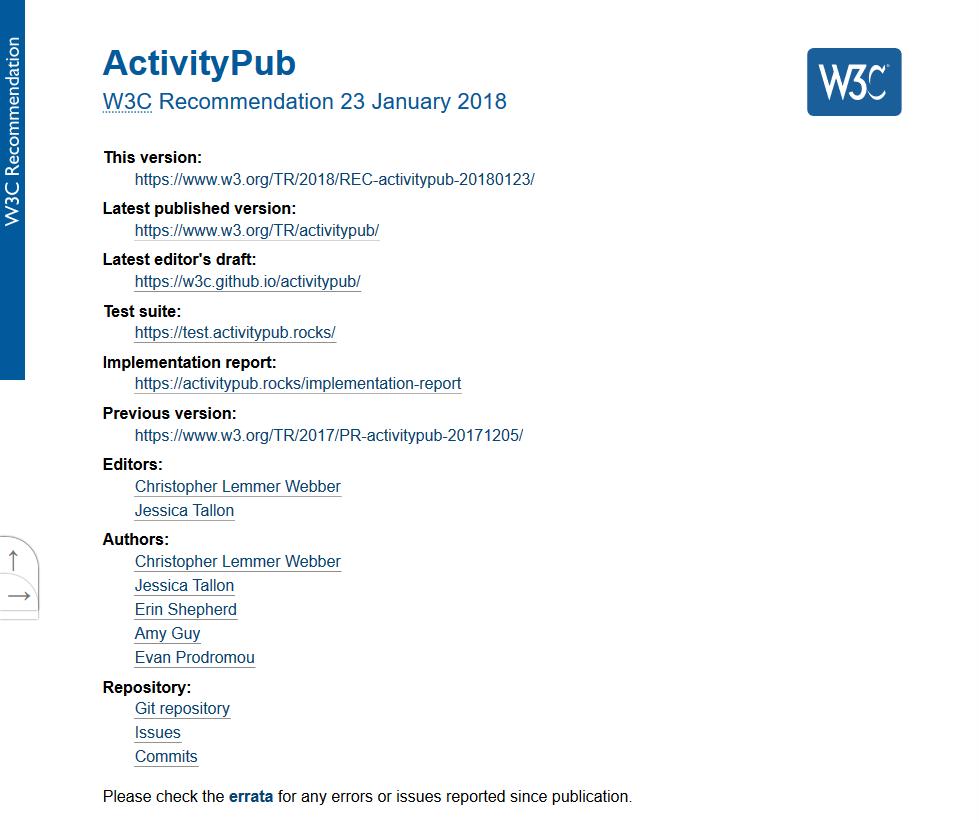 W3C ActivityPub API