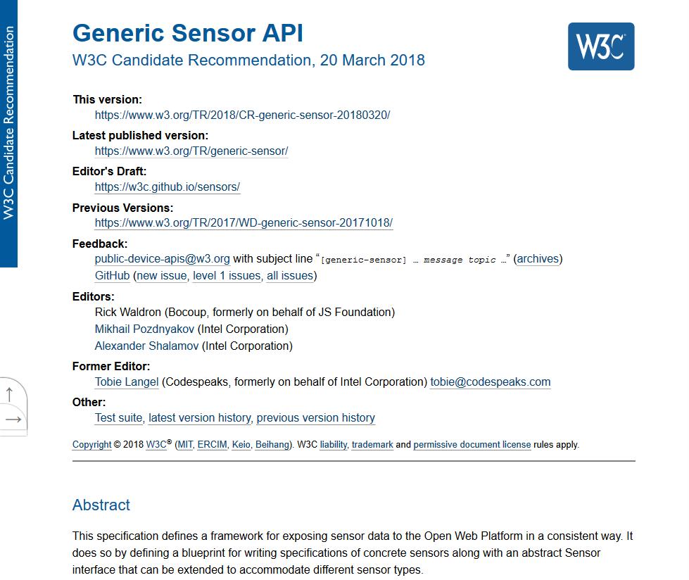 W3C Generic Sensor API