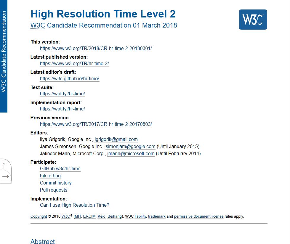 W3C High Resolution Time API