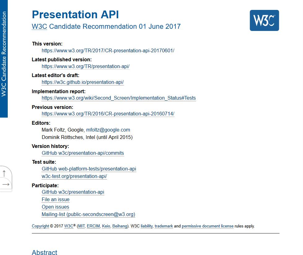 W3C Presentation API