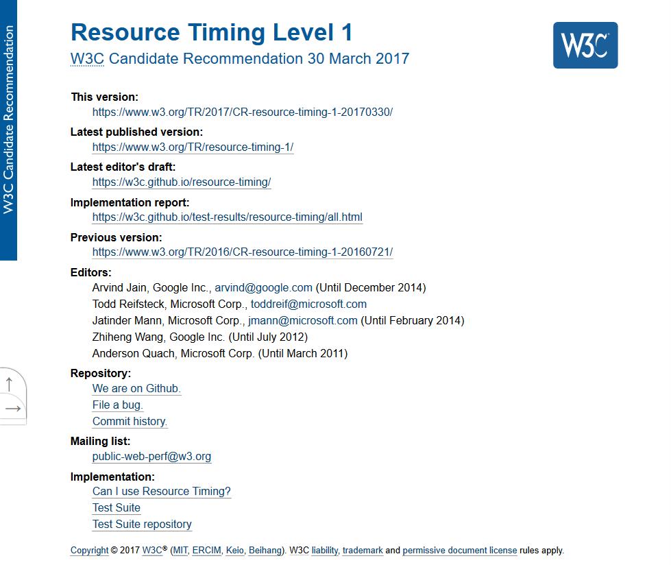 W3C Resource Timing API