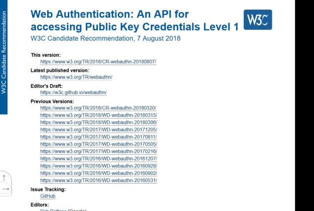 W3C Web Authentication API