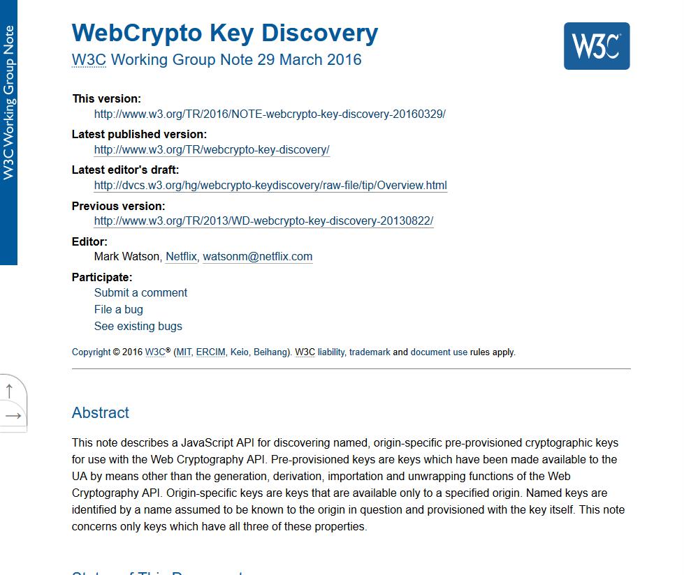 W3C WebCrypto Key Discovery API