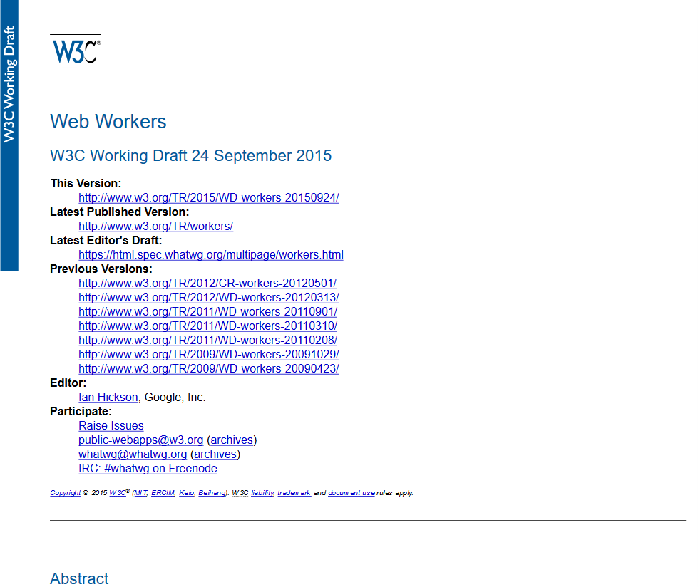 W3C Web Workers API
