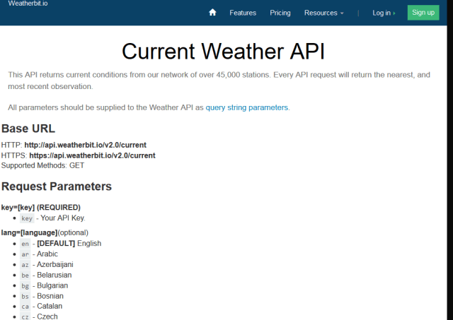 Weatherbit Current Weather API