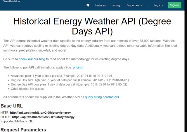 Weatherbit Degree Day API