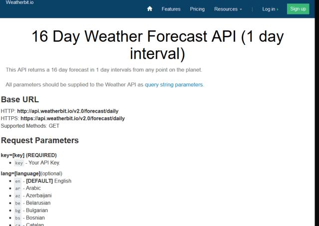 Weatherbit 16 Day Weather Forecast API