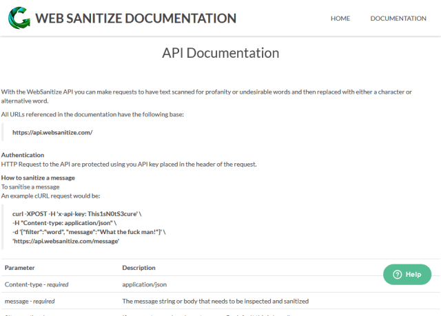 Websanitize API