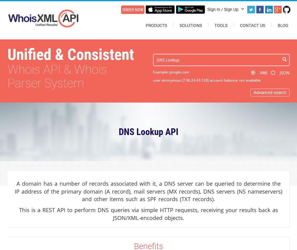 WhoisXML DNS Lookup API