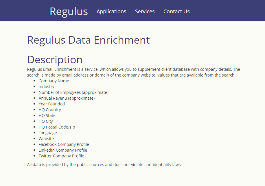 Regulus Data Enrichment API