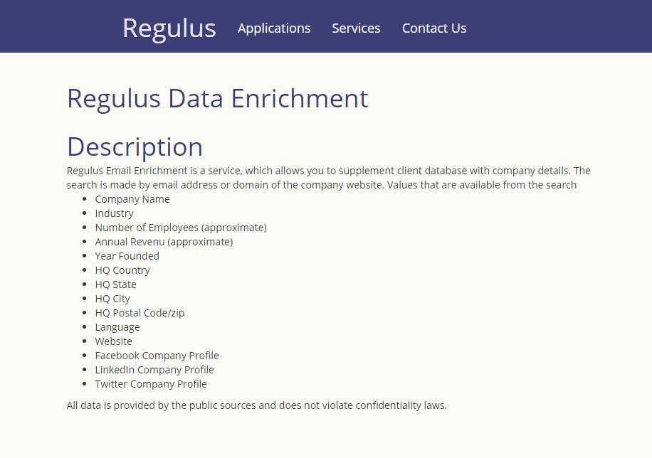 Regulus Data Enrichment API