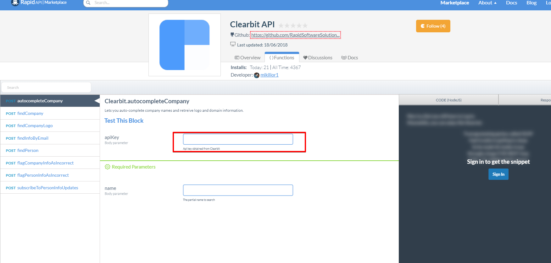 Clearbit API Key RapidAPI
