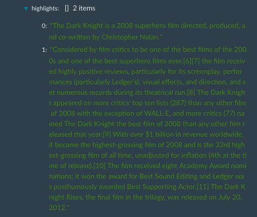 Text Summary API response for text summarization