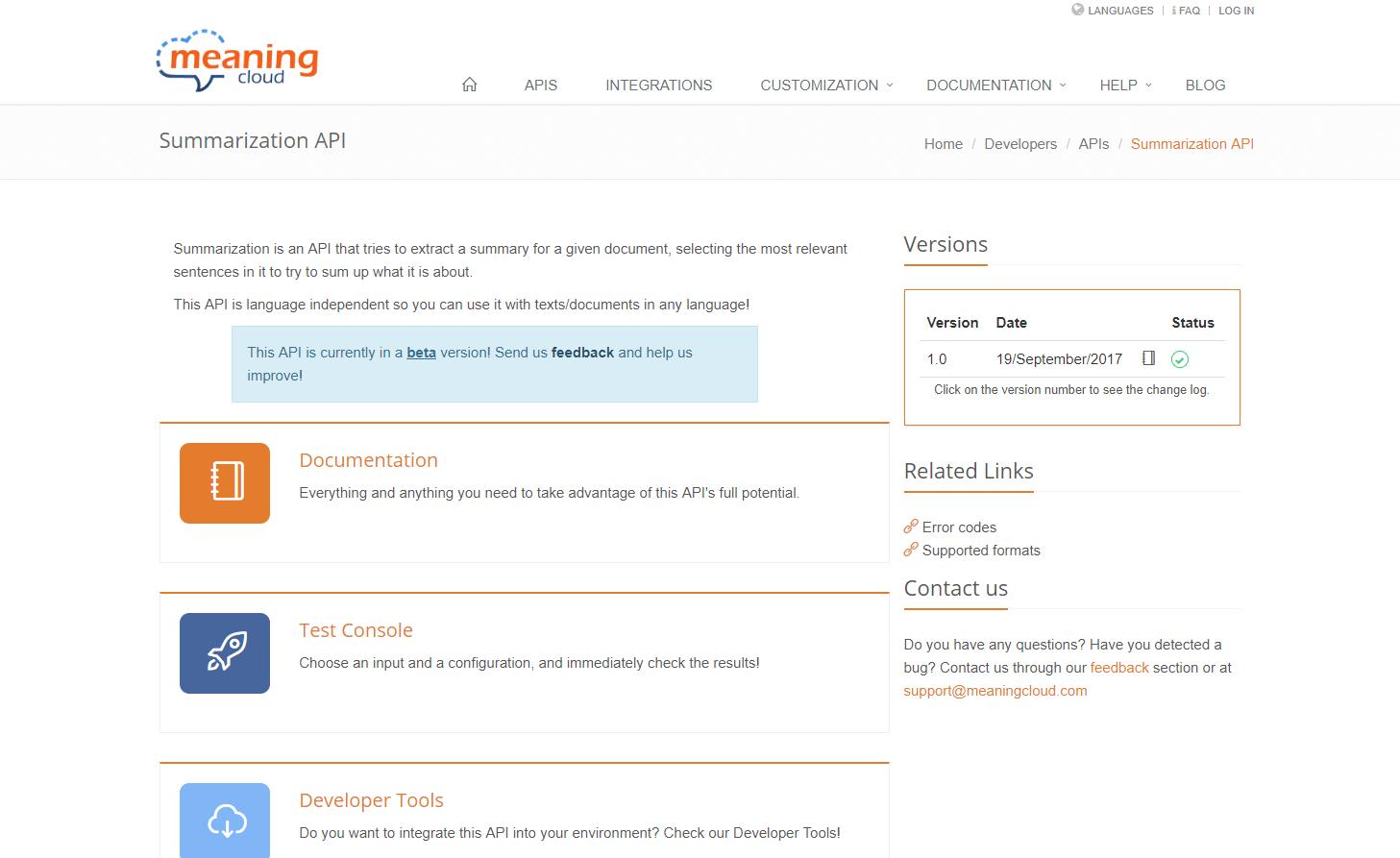 MeaningCloud Summarization API
