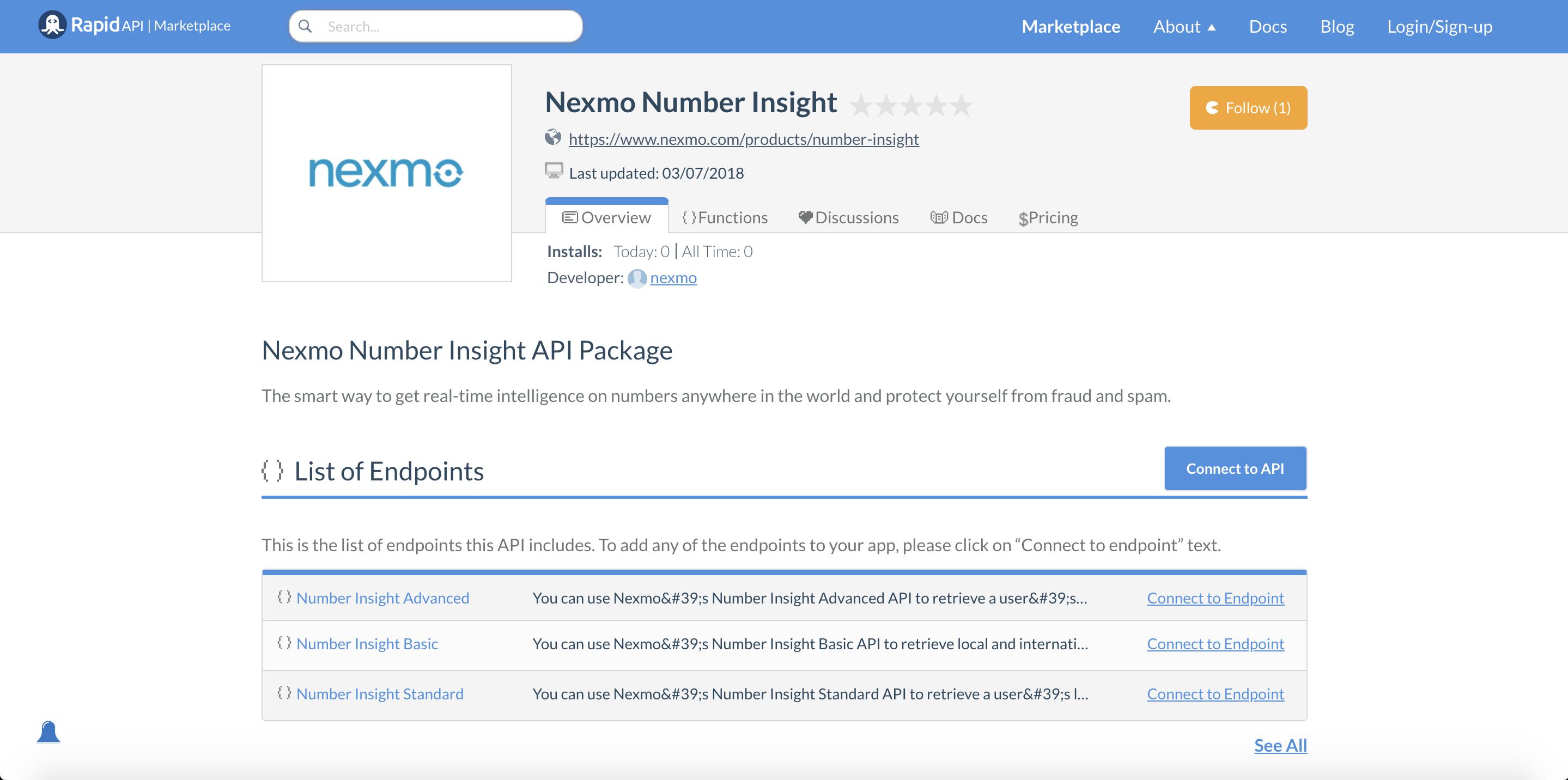 Nexmo Number Insight API listed on RapidAPI