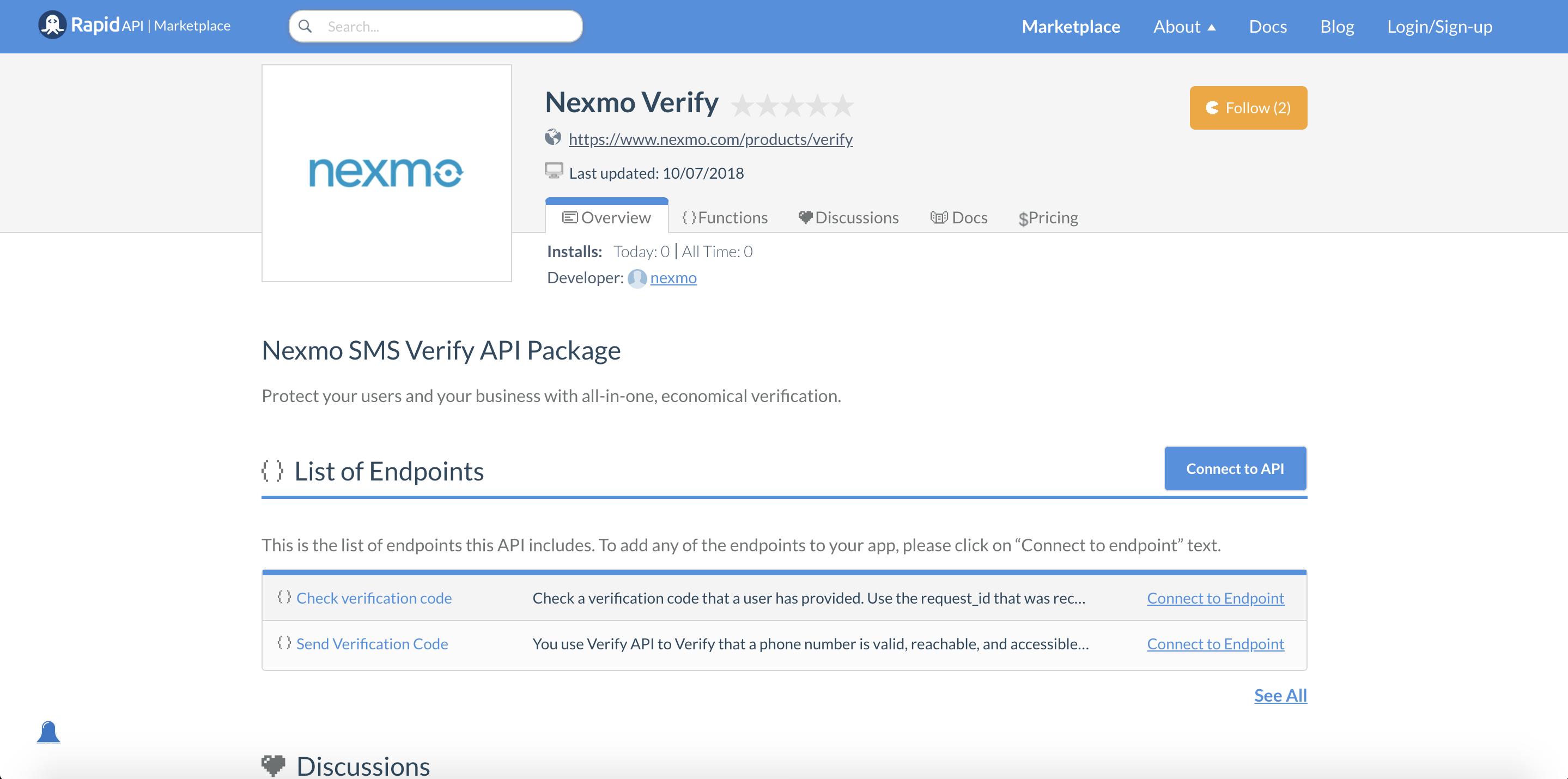 Nexmo Verify API on RapidAPI