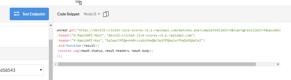 Test the Cricket API and Grab the code snippet