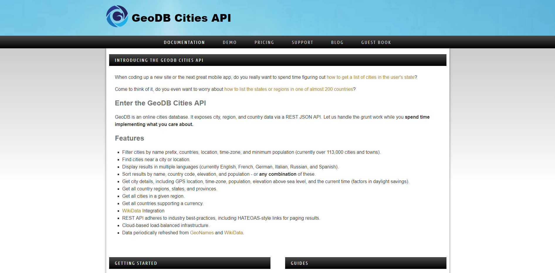 geoDB cities API on RapidAPI