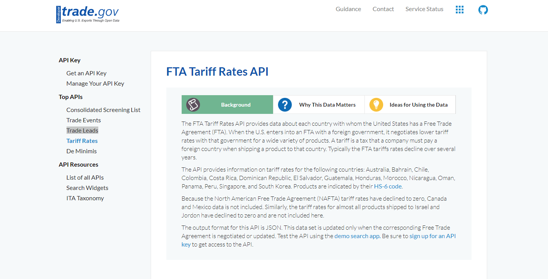Trade.gov Tariff Rates API on RapidAPI.com